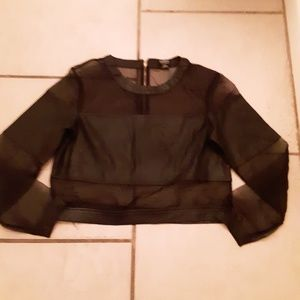 Hommage Sheer and Faux Leather Crop Top Sz M